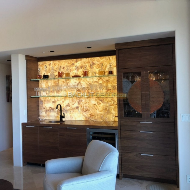 Backlit Onyx Bar Wall