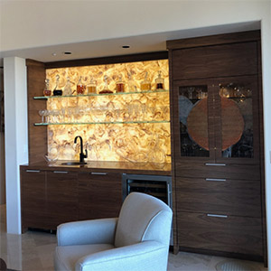 Backlit Onyx Liquor Wall